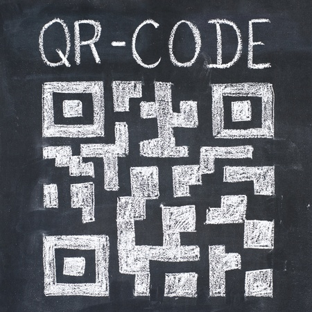 response: Quick Response Code (qr-code) on a blackboard, chalk drawing