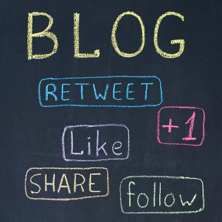 Concept of blog with share buttons, chalk drawing photo