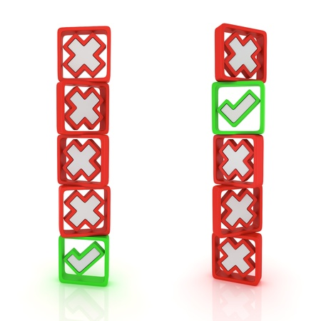 Columns of green ticks and red crosses Stock Photo - 12964735
