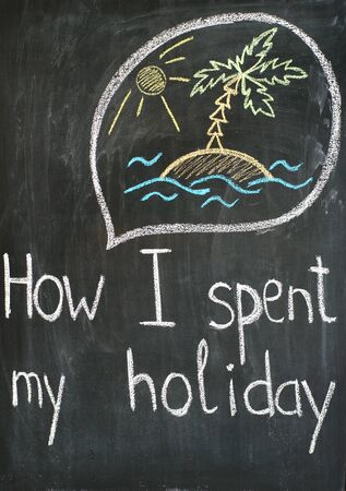 Text How I spent my holiday and thought bubble with sketch about vacations Stock Photo - 12964761
