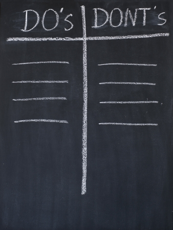 Dos and donts list drawn on a blackboard