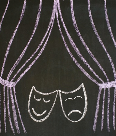 Comedy and tragedy masks at the theatre, drawn on a blackboard photo
