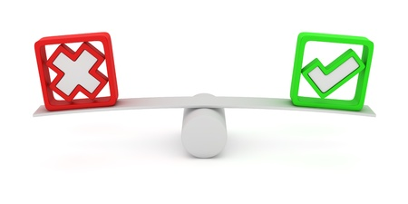 Green tick and red cross balancing on the seesaw Stock Photo - 12964762