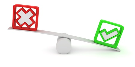 Green tick and red cross balancing on the seesaw Stock Photo - 12964764
