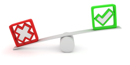 Green tick and red cross balancing on the seesaw Stock Photo - 12964763