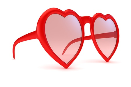 glass heart: Rose colored glasses - symbol of hope, happiness and love Stock Photo