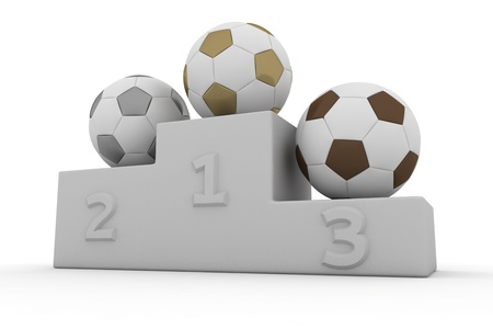 Soccer balls on a pedestal of winners photo