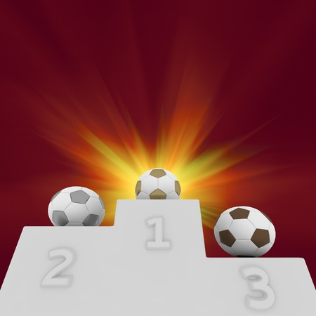 Soccer balls on a pedestal of winners Stock Photo - 13404900