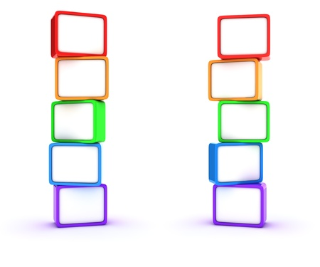 Two columns of multicolored cubes photo