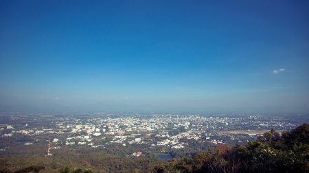 View of Chiang Mai city from viewpoint on Doi Suthep, Northern Thailand photo