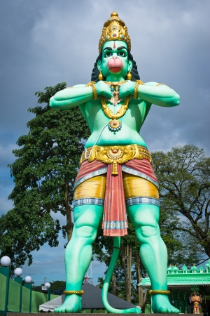god figure: Statue of a giant Lord Hanuman near Batu Caves in Malaysia. Hanuman is a deity in hinduism.