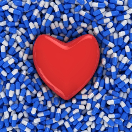 Heart on the background of blue and white capsules, three-dimensional computer graphic. photo