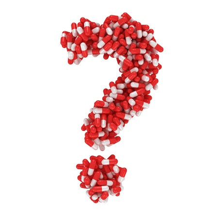 Question mark made from red and white capsules Фото со стока