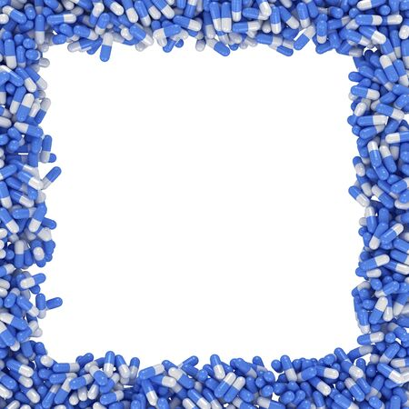 Square frame made from blue capsules Stock Photo - 13842396