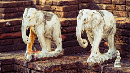 Two statues of elephant in asian temple photo