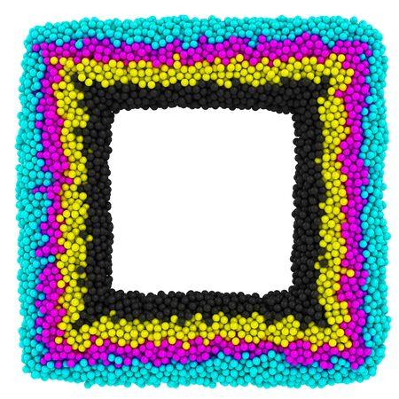 CMYK square frame isolated on the white background Stock Photo - 13939689