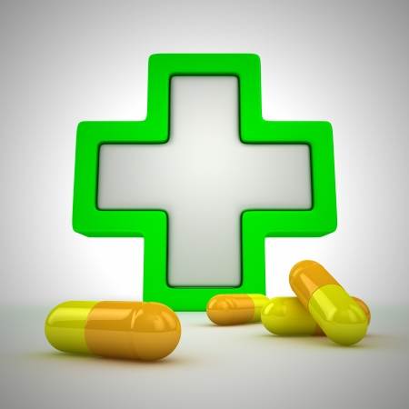 Medical cross and pills - first aid concept Stock Photo - 13994660