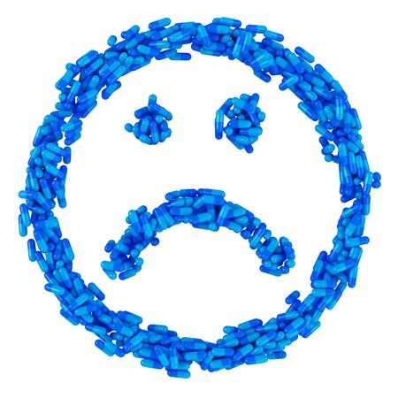 Sad smile made from many blue pills, sickness concept photo