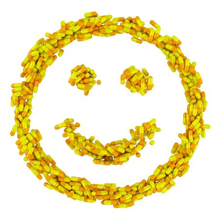 Happy smile made from many yellow pills, wellness concept photo