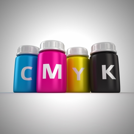 Four bottles with paint of cmyk colors Stock Photo - 14114858