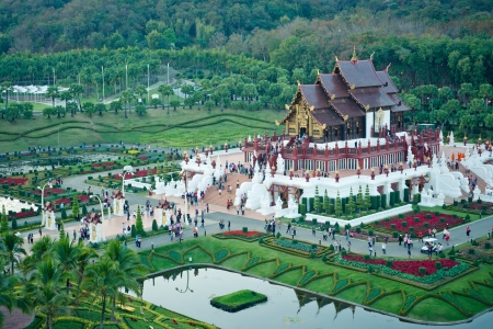 places of interest: Chiang Mai, Thailand - 16 January, 2012:  Royal pavilion ( (Ho Kum Luang) in  traditional Lanna style at Royal Flora Ratchaphruek Exhibition in Chiang Mai, Thailand Editorial