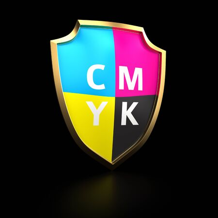 Shield painted with cmyk colors Stock Photo - 14114878