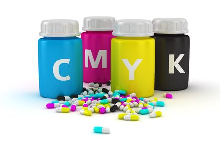 Four bottles with paint of cmyk colors and heap of colored capsules photo