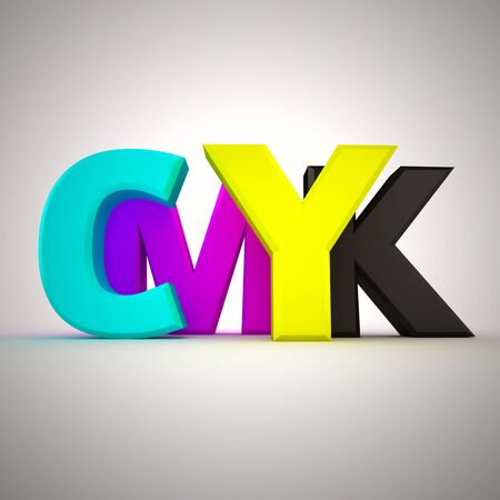 Capital letters CMYK on the white background photo