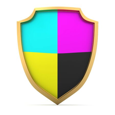Shield painted with cmyk colors Stock Photo - 14114883