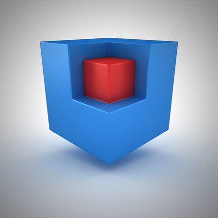 Red small cube inside of big blue cube photo