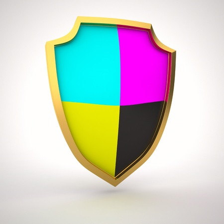 Shield painted with cmyk colors Stock Photo - 14248013