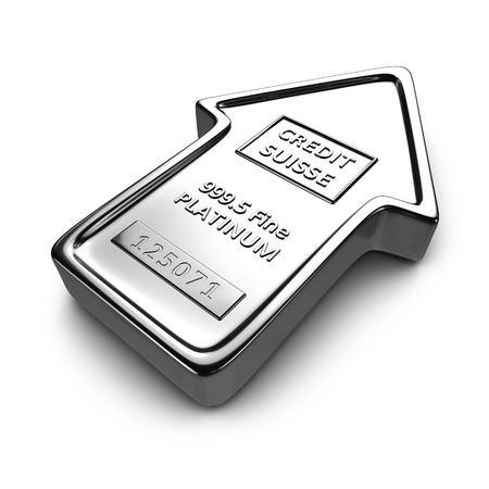 Platinum ingot in the shape of arrow on the white background photo