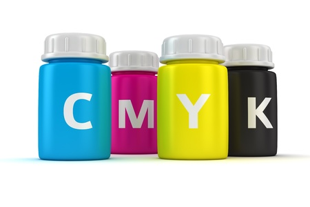 Four bottles with paint of cmyk colors photo