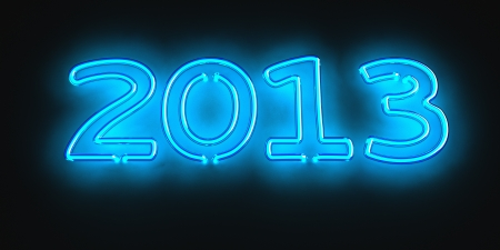 Neon date 2013 on the black background Stock Photo - 14381961