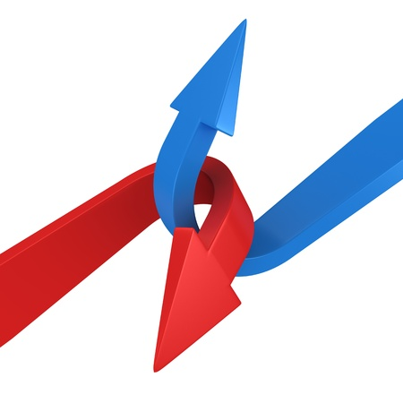 opposite: Blue and red arrows connecting on the white background