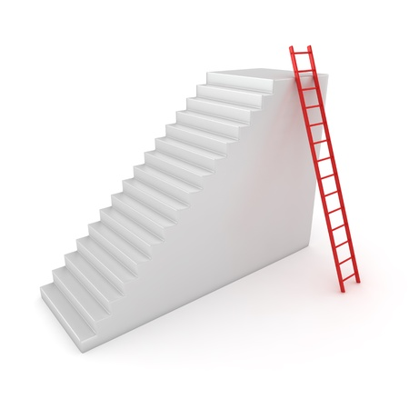 step ladder: Red step ladder put on the white staircase Stock Photo