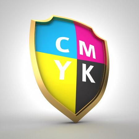Shield painted with cmyk colors photo