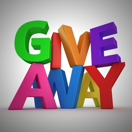 Text Giveaway made from multicolored letters Stock Photo