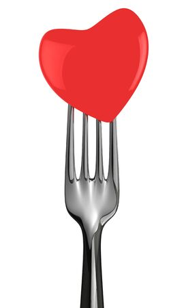 Fork with red heart isolated on the white background photo