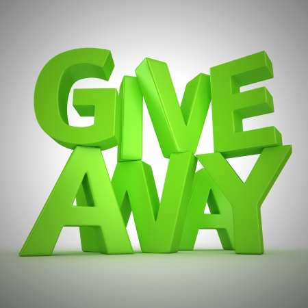 Text Giveaway made from green letters Stock Photo