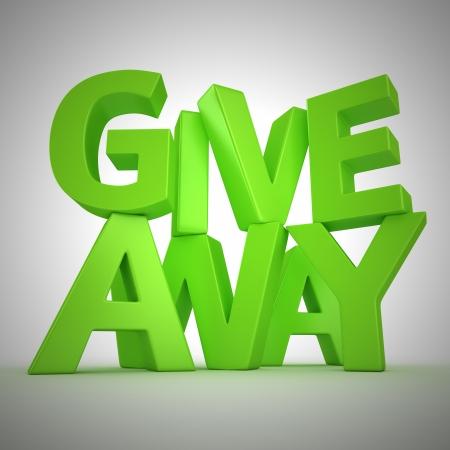"""dar un regalo: Texto """"Giveaway"""" hecho de letras verdes"""