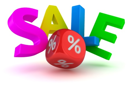 Big letters Sale falling from impact of dice photo