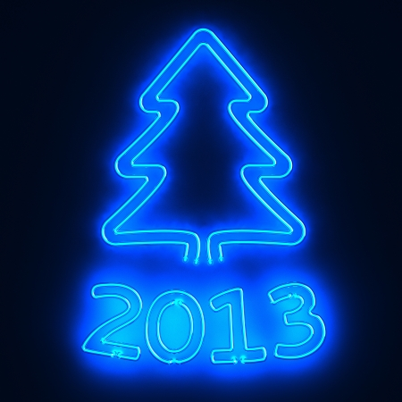 Glowing neon sign 2013 and christmas tree photo