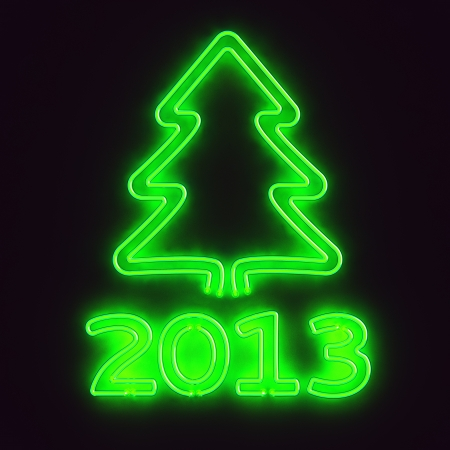 Glowing neon sign 2013 and christmas tree Stock Photo - 15329967