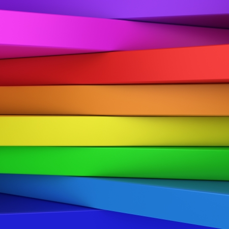 3d rainbow: Abstract rainbow-coloured panels with copyspace for text OR just vibrant 3D background