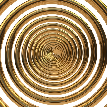 concentric circles: Concentric gold helix isolated on white