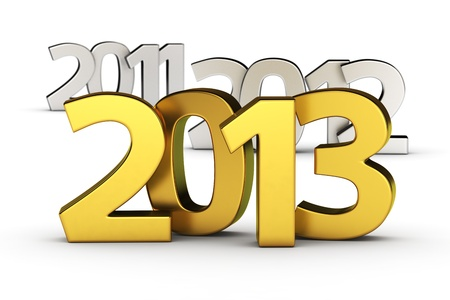 Golden digits 2013 against defocused 2012 and 2011 Stock Photo - 15652835