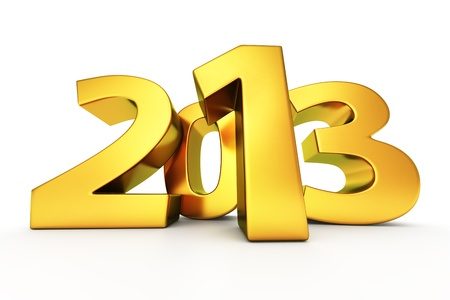 Big golden digits 2013 on the white background Stock Photo - 15770474