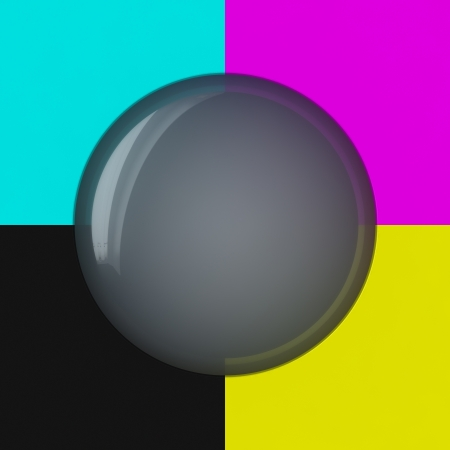 polygraphic: Grey bubble on the cmyk background