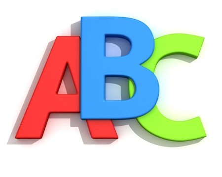 b ball: Capital letters A, B, C on the white background